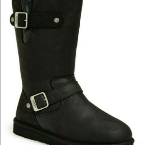 NWT Black UGG MOTO SUTTER LEATHER BOOTS. SZ 5